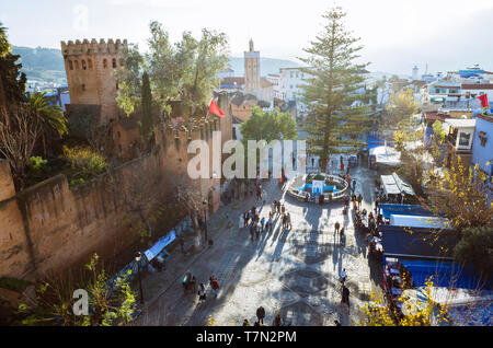 Chefchaouen, Morocco : High angle view of the Kasbah fortress at Uta el-Hammam main square. - Stock Image