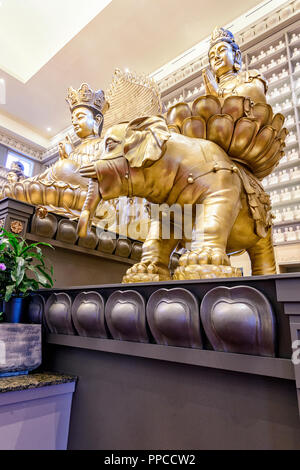 Buddha Hall at the Avatamsaka Monastery. A  branch of the Dharma Realm Buddhist Association in Calgary Alberta, Canada - Stock Image