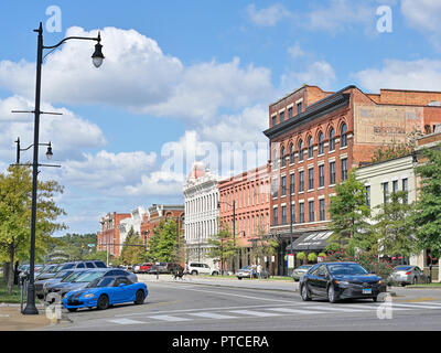 Commerce St in downtown Montgomery Alabama, USA, with businesses lining the street. - Stock Image