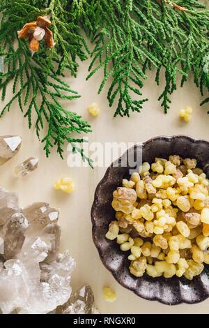 Frankincense with Smoky Quartz and Incense Cedar - Stock Image