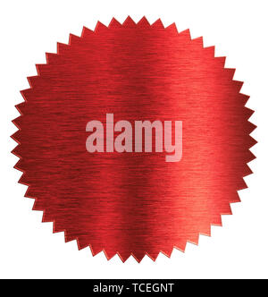 Foil red diploma or certificate seal isolated - Stock Image
