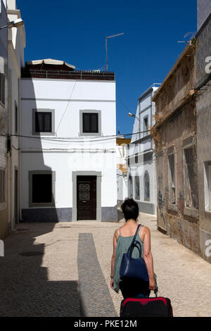 Traditional houses and narrow streets of Old Town,Olhao, Algarve, Portugal - Stock Image