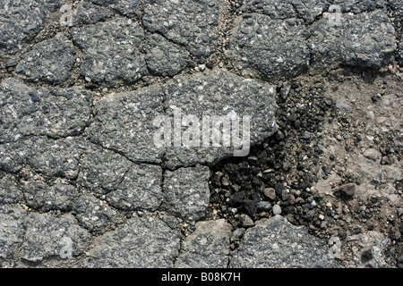 Close up of a pothole in the streets... - Stock Image