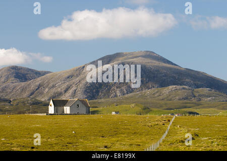 Scenic view of Baile na Cille church, Uig, Timsgarry, Isle of Lewis, Western Isles - Stock Image