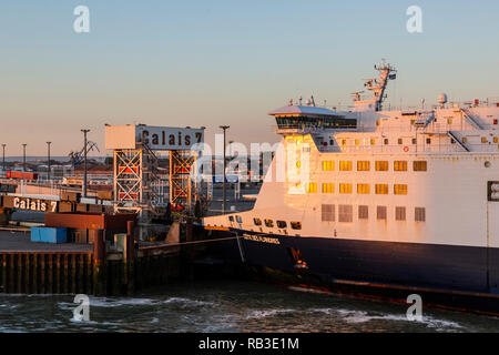 DFDS ferry in the Port of Calais, France, Europe - Stock Image