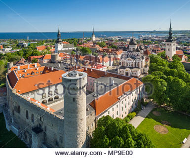 aerial view Tallinn medieval old town, Estonia, Europe. Tower Pikk Hermann and parlament building - Stock Image