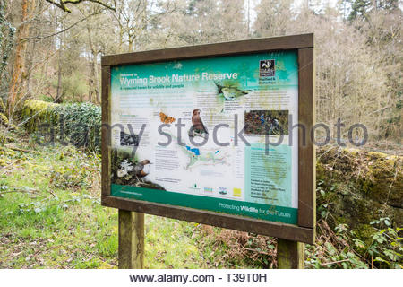 Sign for Wyming Brook Nature Reserve, managed by the Sheffield and Rotherham Wildlife Trust, Sheffield, England, UK - Stock Image