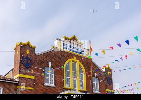 Gurdwara Guru Tegh Bahadar Sahib place of worship along St Marks Road in the district of Northam in Southampton, England, UK - Stock Image