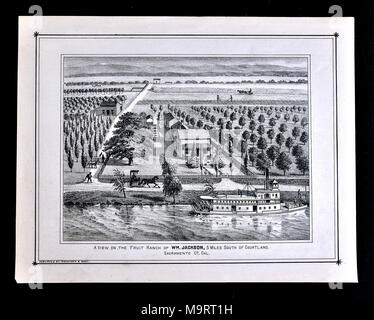 Sacramento County California Farm Views - 1880 - Thompson & West Print - Stock Image