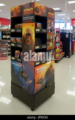 Kong and other movies (DVDs) being sold at a point-of-purchase display near the check out register at a Target store - Stock Image