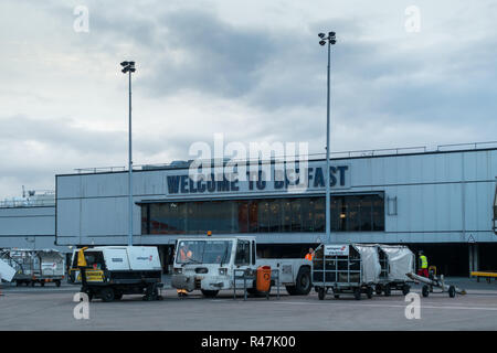 Belfast International Airport on a cold grey overcast autumn day - Stock Image
