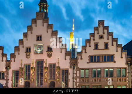 City Hall, Facade of historic building , Roemerberg, background Commerbank tower, Frankfurt am Main, Hesse, Germany - Stock Image
