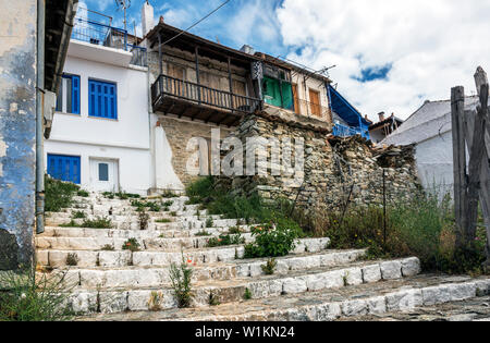 A Street in Glossa, Skopelos Town, Northern Sporades Greece. - Stock Image