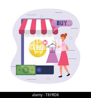 woman shopping dress online with smartphone technology vector illustration - Stock Image