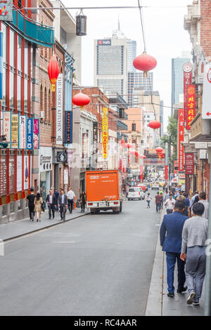 Melbourne, Australia - 21st February 2018: People walking on Little Bourke Street, Chinatown.  It is the longest continuous settlement in the Western  - Stock Image