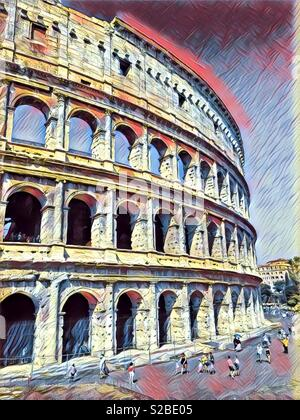 Historic Colosseum, Rome - Stock Image