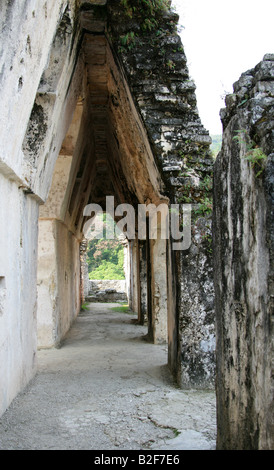 The Palace, Palenque Archeological Site, Chiapas State, Mexico - Stock Image