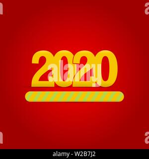 2020 New Year is Loading. Progress Bar Showing Loading of 2020. Yellow Numbers, Red Background. Christmas Greeting Card. Vector Illustration. - Stock Image