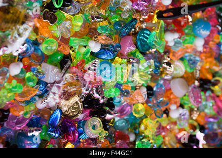 Plastic toys in assorted colors - Stock Image