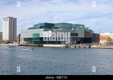 Copenhagen, Denmark. 5th May, 2018. The BLOX building, a new prestige building for architecture and design on Christians Brygge at the waterfront at Frederiksholm Canal next to the Black Diamond in the inner harbour. The building also houses the Danish Architecture Centre and a number of companies working with future solutions for cities. The building was inaugurated by H.M. Queen Margrethe II yesterday - today open house to a festive opening day. BLOX is the original name of the old brew-house property where it is situated. Architects OMA. Credit: Niels Quist/Alamy Live News - Stock Image