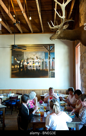 Group of Women In Their Sixties Dining At Auslander Biergarten and Restaurant Hill Country, Fredericksburg, Texas, - Stock Image