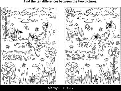 Spring or summer themed find the ten differences picture puzzle and coloring page with two cute caterpillars walking in the garden - Stock Image