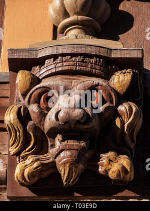 Wooden lion carving, Rouen, Normandy, France - Stock Image