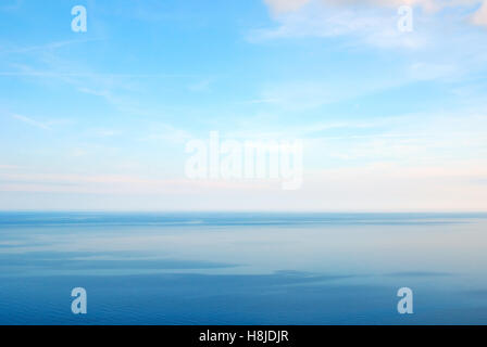 calm sea with nice blue sky in august - Stock Image