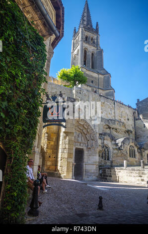 A view of the church in the village of St. Emilion. - Stock Image