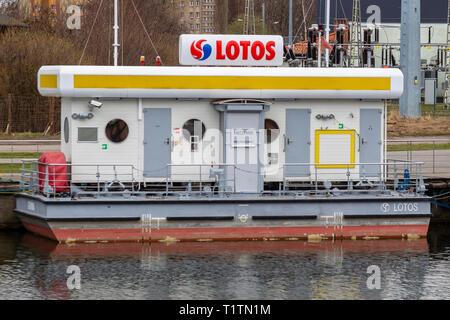 Lotos Boat Petrol Filling Station on Motlawa River, Gdansk, Poland - Stock Image