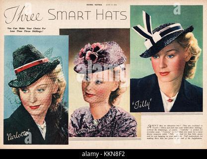 1939 UK Magazine Hat Fashions Advert - Stock Image