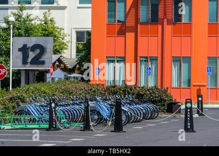 Facebook bicycles at their Headquarters in Menlo Park California Silicon Valley California USA - Stock Image
