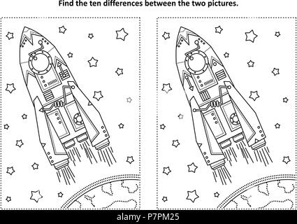 Space exploration themed find the ten differences picture puzzle and coloring page with rocket or spaceship, Earth and stars. - Stock Image