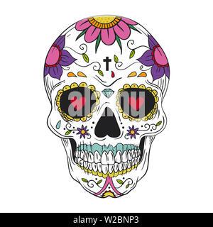 calavera skull flower mexican festival celebration dead day halloween illustration - Stock Image