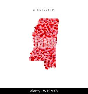 I Love Mississippi. Red and Pink Hearts Pattern Vector Map of Mississippi Isolated on White Background. - Stock Image