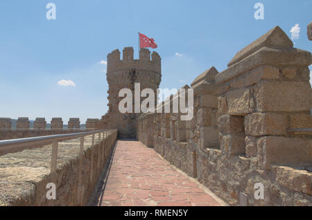 Ramparts and tower at Mendoza castle - Stock Image