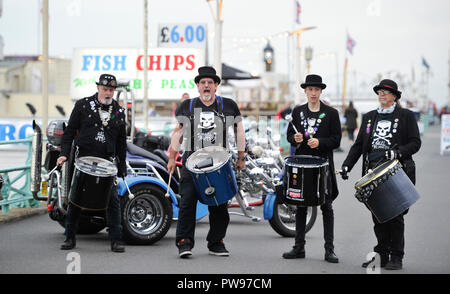 Brighton UK 14th October 2018 - Drummers take part in this years Brightona Motorcycle event along Madeira Drive on Brighton seafront raising money for the Sussex Heart Charity Credit: Simon Dack/Alamy Live News - Stock Image