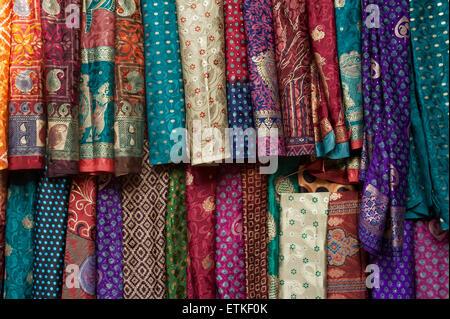 Silky textiles, Mandawa, Shekawati region, Rajasthan India - Stock Image