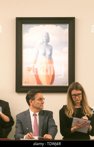 London UK. 19th June 2019.  ' La Magie Noire' by Rene Magritte, oil on canvas, Estimate £2,500,000m, which sold at hammer for £3,500,000 at the Impressionist & Modern Art Evening Auction  at Sotheby's London Credit: amer ghazzal/Alamy Live News - Stock Image