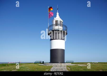 Leuchtturm Kleiner Preusse am Kutterhafen Wremen, Niedersachsen, Deutschland, Europa - Stock Image