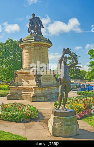 The Gower Memorial statue to William Shakespeare stands in Bancroft Gardens in the heart of Stratford upon Avon, - Stock Image
