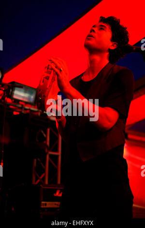 Matthew Dear live at Field Day festival in Victoria Park London. - Stock Image