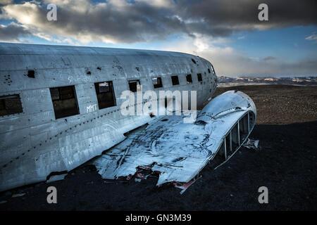 DC-3 US Navy Plane Crash Wreckage Site in Vik, Iceland - Stock Image