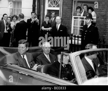A crowd gathers to see US President John F Kennedy during a visit to London for the christening of his niece in - Stock Image