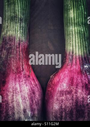 Red onions on cutting board - Stock Image