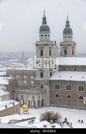 Cathedral in a snow day, Salzburg, Austria - Stock Image