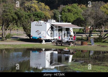 Camping trailer at North Beach Campground at Pismo Beach California USA - Stock Image