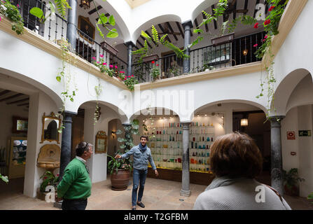 Tourists having a guided tour inside the Museum of Glass and crystal, Malaga Spain - Stock Image