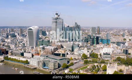 Modern Office Towers Aerial View in Business and Financial District in London. Most Advanced Construction Techniques and Architecture UK - Stock Image