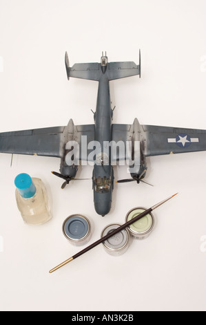 Aviation plastic modeling isolated on white - Stock Image